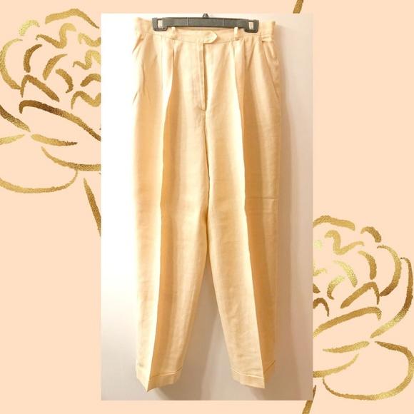 Lauren Ralph Lauren Pants - Lauren Ralph Lauren Pale Yellow Linen Pants